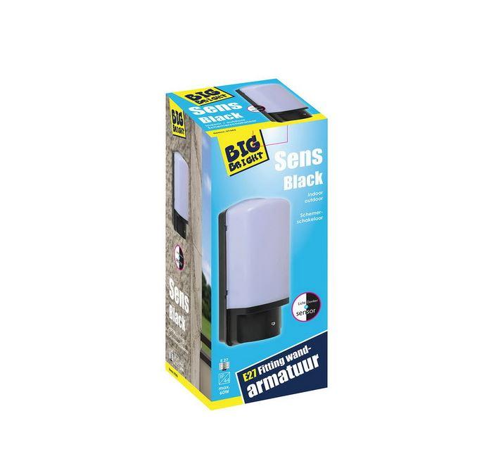 Big Bright Sens Black wandarmatuur E27