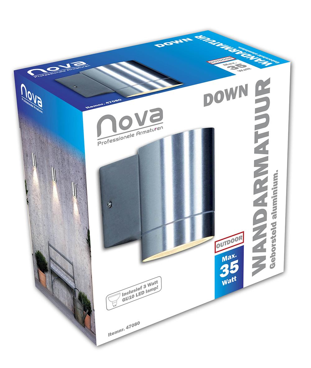 Nova Wandlamp Down alu geborsteld 75mm GU10 LED_3