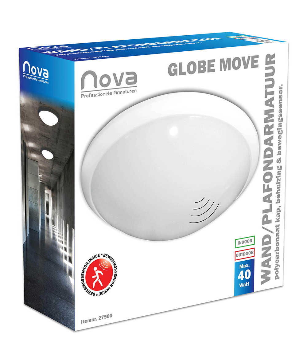 Nova Globe move plafond-wandarmatuur met sensor