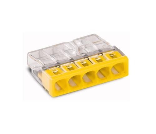 Wago lasklemmen 5 polig geel